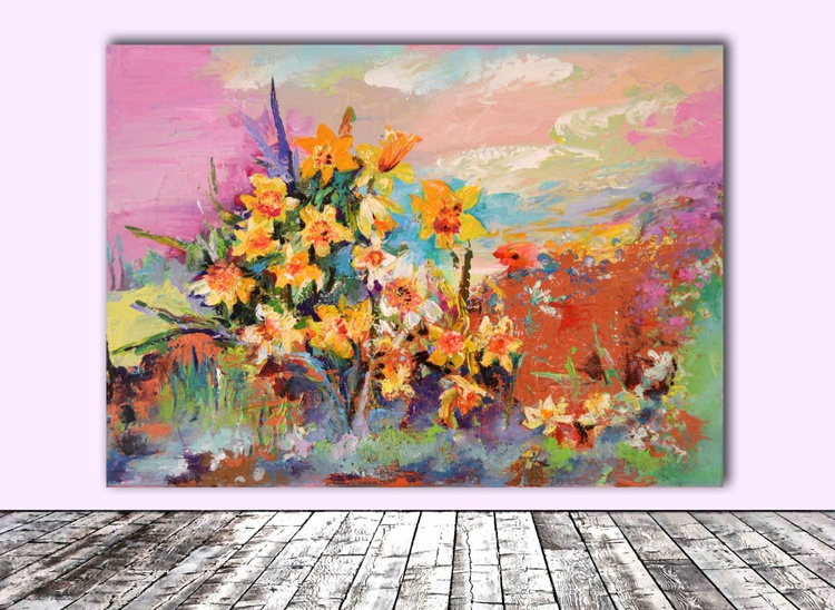 Yellow Meadow, Yellow and White Daffodils, Ready To Hang Modern Varnished Acrylic Painting - Image 0