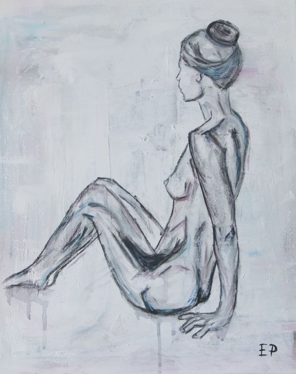 Sitting Nude Woman- Figure Painting-Abstract-ORIGINAL SIGNED acrylic and gouache painting - Image 0