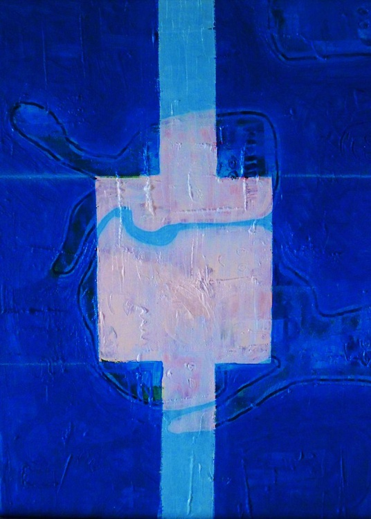 Abstract blue with white cross - Image 0