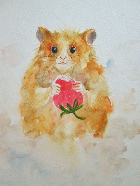"""""""SWEET WITHOUT SUGAR"""", a cute hamster eating a fruit - Image 0"""
