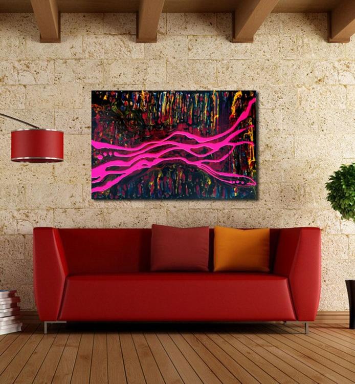 Acrylic Gloss Painting 24x36 Magenta Night - Image 0
