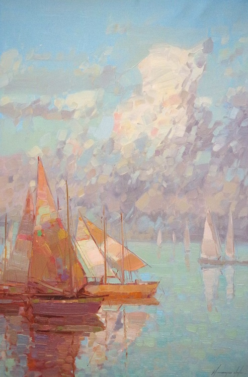 Seascape, Sail Boats, Original oil painting, Handmade artwork, One of a kind Signed with Certificate of Authenticity - Image 0