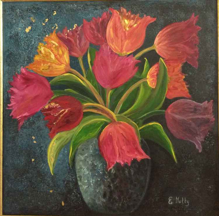 A vase of tulips -