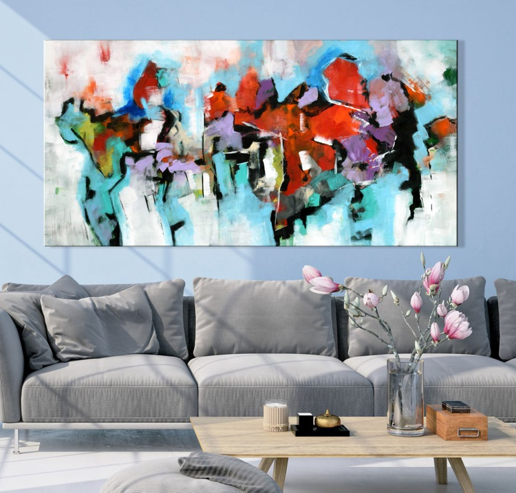 """""""Summer Hike"""" Abstract painting, 60""""x30 abstract contemporary painting blue aqua purple red - Image 0"""
