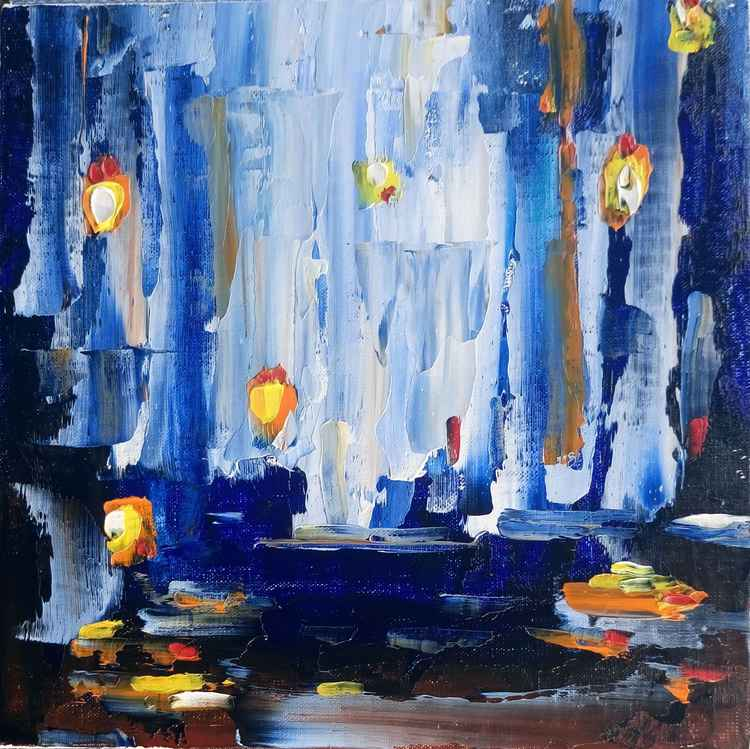Warm Lights. (Abstract original acrylic painting, canvas on board. Unframed. ) -