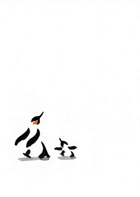 Penguin and a chick 1813A