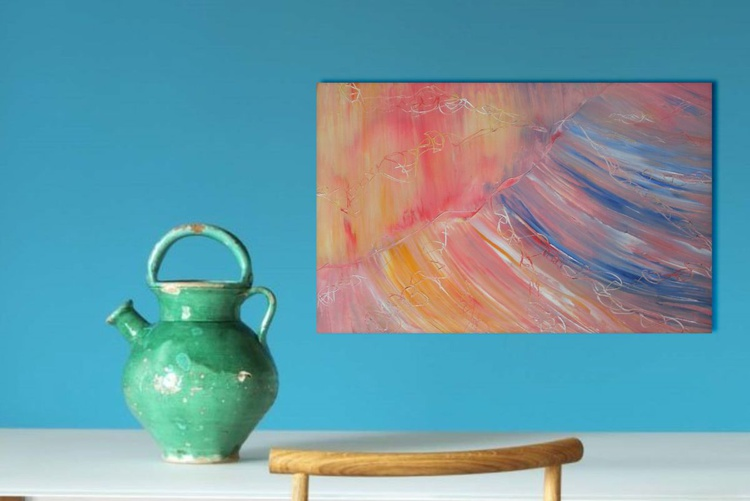 Warm sign -  60x45 cm, Original abstract painting, oil on canvas - Image 0