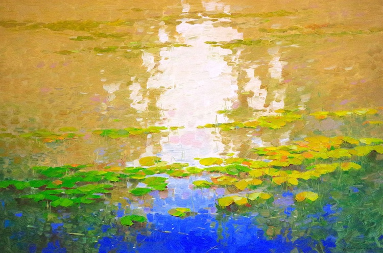 Water lilies - Garden, Original oil Painting, Impressionism, Handmade artwork, Large Size Painting, One of a Kind - Image 0