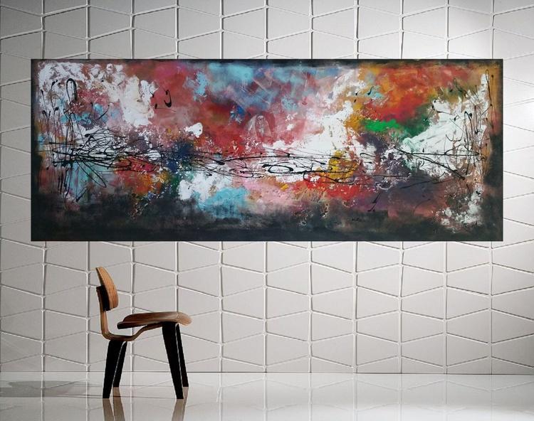 "59x 23,5""( 150x60cm), Sifnos Island Landscape,  orange painting , canvas art, home painting - Image 0"