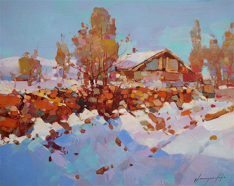 Landscape  Oil painting, Winter Village, Spring, One of a kind, Signed with Certificate of Authenticity - Image 0