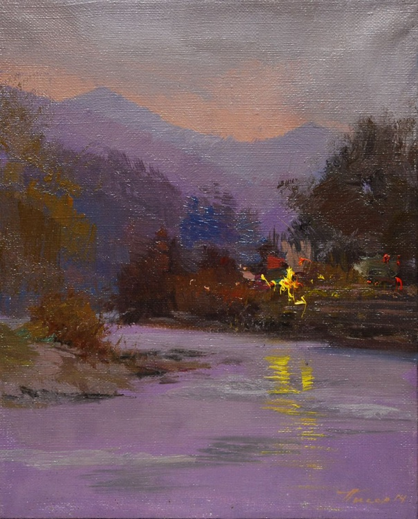 """Landscape painting titled """"Light above Water"""" - Image 0"""