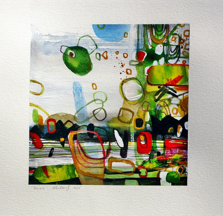 abstract original watercolour collage painting - Image 0