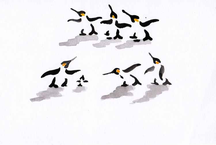 Six penguins and a chick 1015A