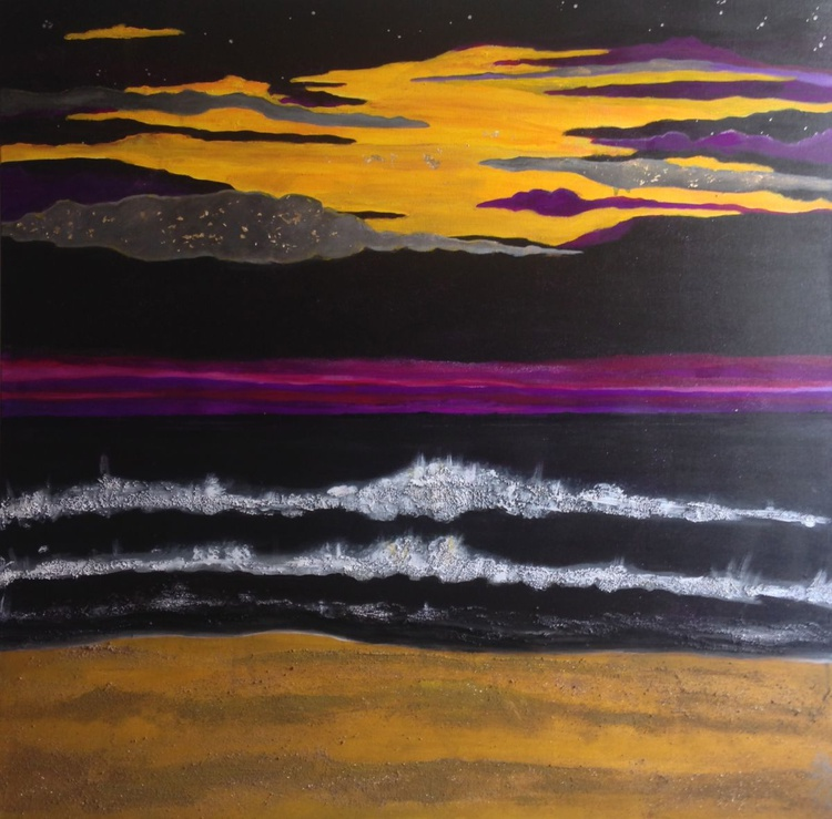 Storm | Large abstract seascape | Black, yellow and purple sky | 100 x 100 x 4cm | Stormy sky | Hotel, foyer, restaurant | Statement abstract piece - Image 0