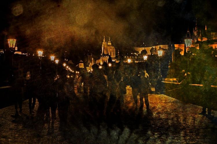Charles Bridge at Night - Canvas 75 x 50 cm - Image 0