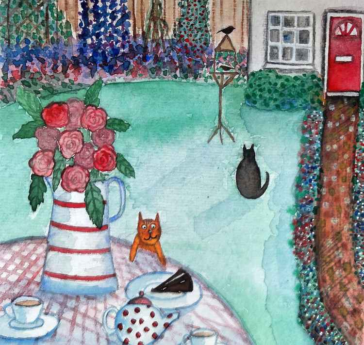 RESERVED. Marmalade eyeing the cake! (6x6 in) -