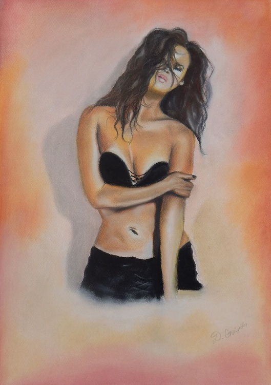 ''Dressed in black''-pastel drawing woman - Image 0