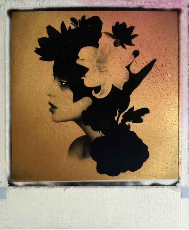 Broken Dream 24ct gold leaf & Spray paint Polaroid collage