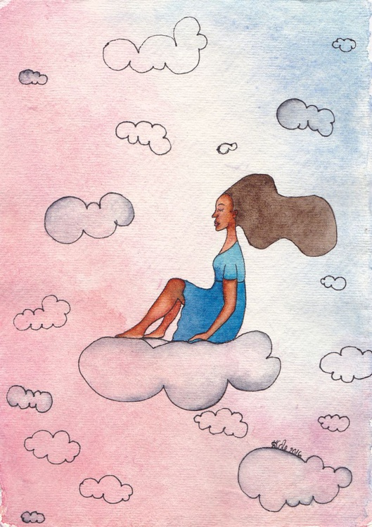 'Cloud Surfing' Original Watercolour Painting on Khadi Paper - Image 0