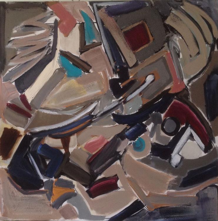 Grey Abstract acrylic 100x100 - Image 0