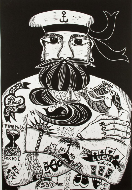 Tattoodles, black and white linocut - Image 0