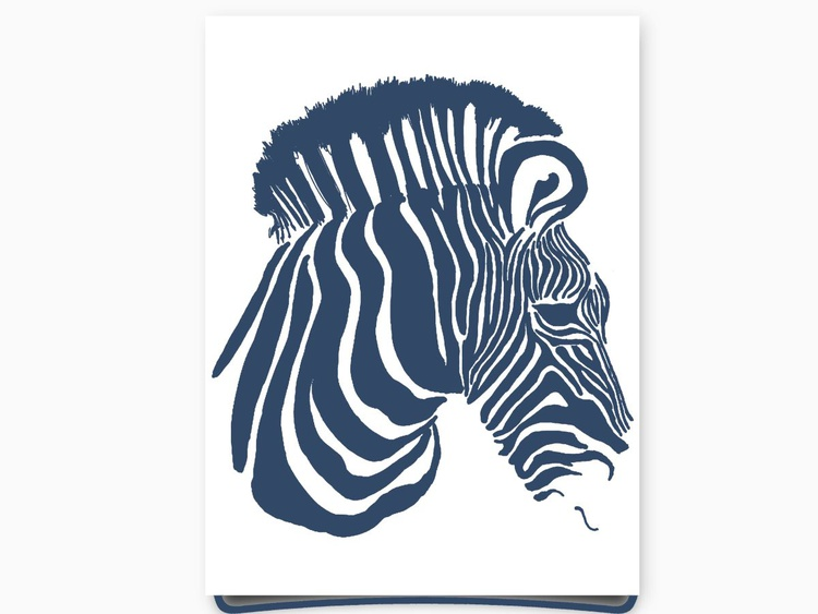 Zebra Face 8 x 10 Drawing - Image 0