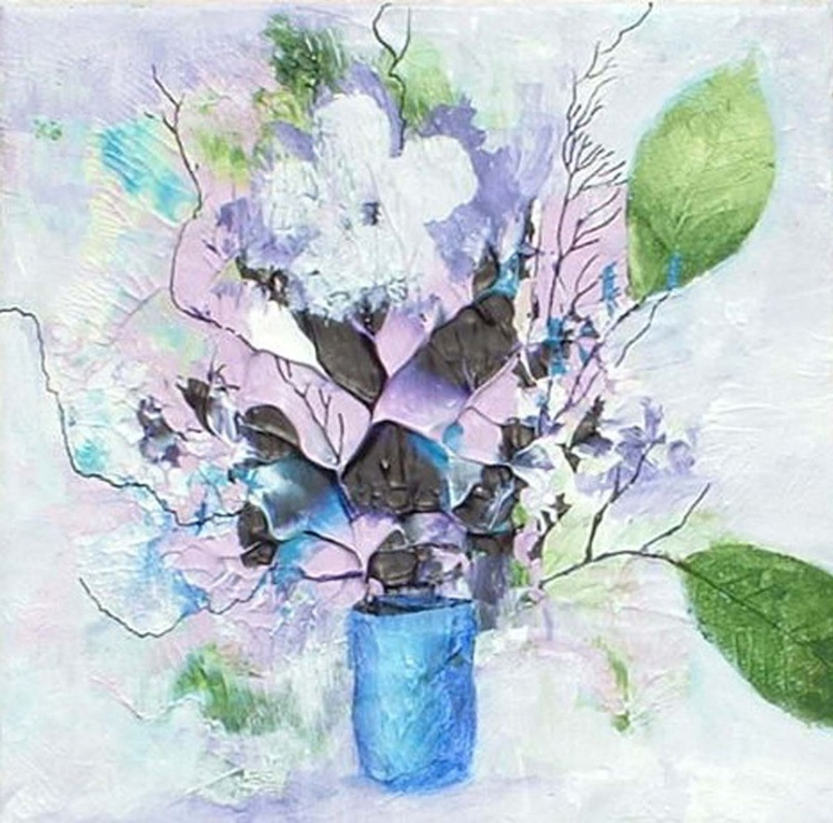 Abstract Flowers in a Blue Vase - Image 0