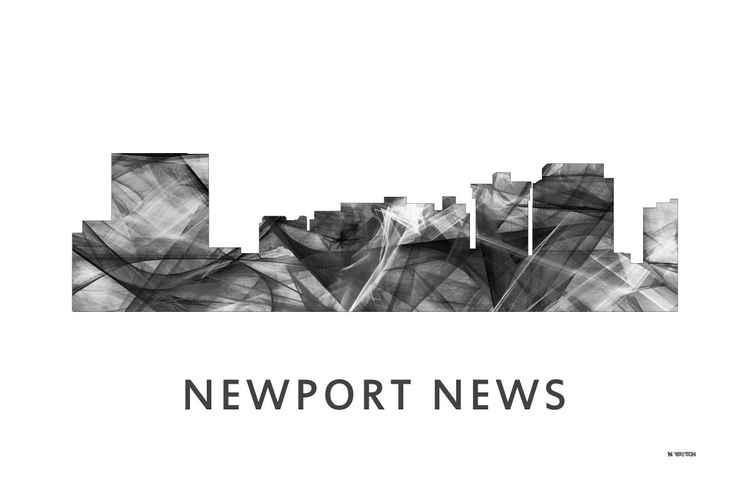 Newport News Virginia Skyline WB BW