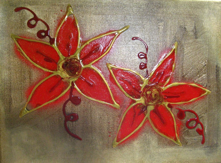 Gold and Red Flowers - Image 0