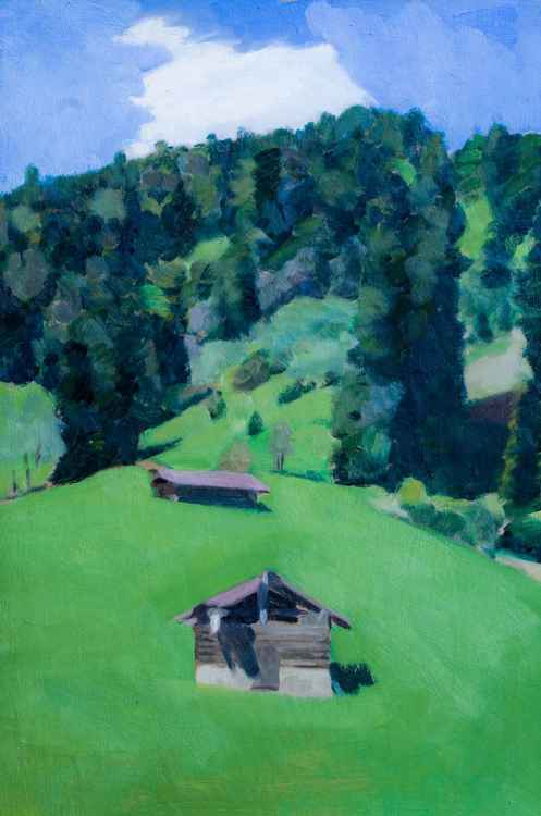 Huts on the hillside near Lenggries -