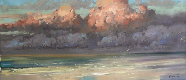 Evening Clouds Original Seascape oil Painting Large Size - Image 0