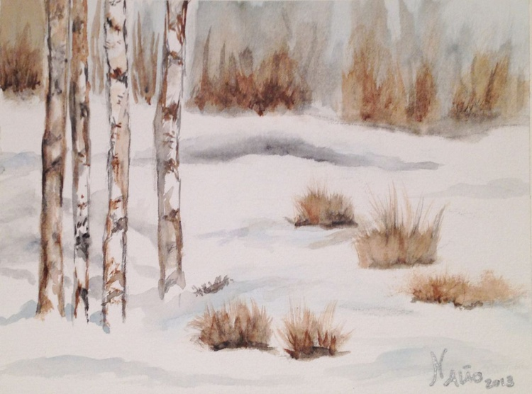 Times of Snow I,  Original painting watercolour unframed - Image 0