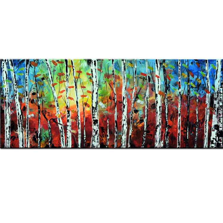 RESERVED- Custom Order for LYNNE- Aspen tree painting in blue and brown, large 60x24 fall color birch autumn forest, aspen trees, fall forests,Palette Knife Painting