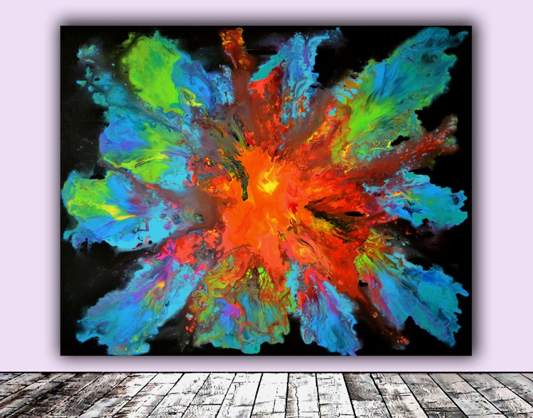 Dark Pandora - XL Big Painting, FREE SHIPPING - Large Painting - Ready to Hang, Hotel and Restaurant Wall Decoration - Image 0