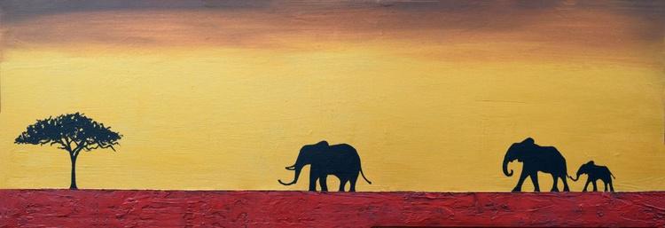 "original abstract animal art acrylic original landscape ""elephants of the sudan"" africa animal painting art canvas - 121 x 40 cm - Image 0"