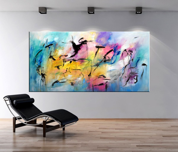 "Broken Dreams - 72"" Extra Large Painting On Canvas, abstract art, abstract canvas art, colorful art, oversize modern painting - Image 0"