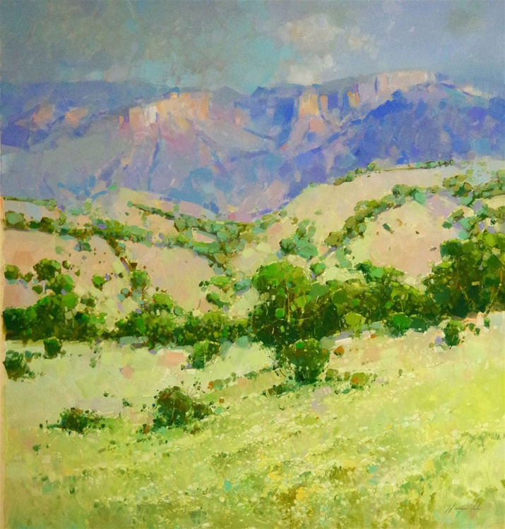 Summer field, Landscape Original oil painting, One of a kind Signed with Certificate of Authenticity - Image 0