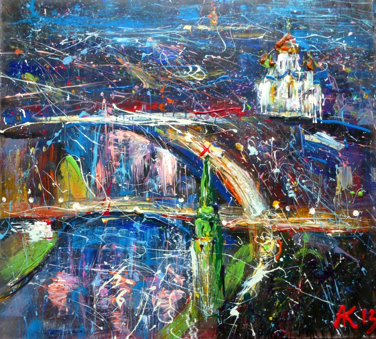 Moskow River, large oil painting 105x95 cm - Image 0