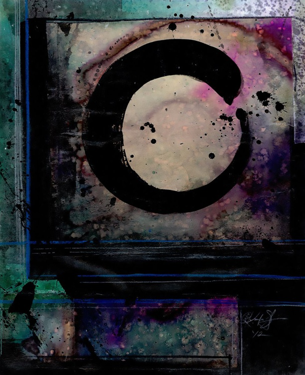 Abstract Painting - Enso, Zen Circle - Being Within Series.. Enso . No.5 - Image 0