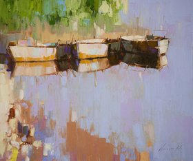 Boats on the Lakeside Original oil painting  Handmade artwork One of a kind by Vahe Yeremyan