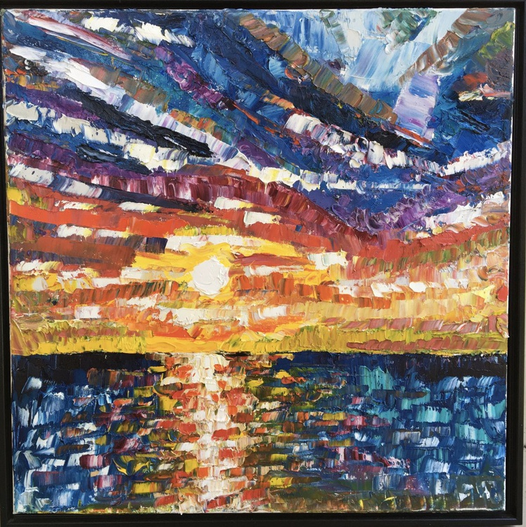Stained Glass Sunset over the Sea - Image 0