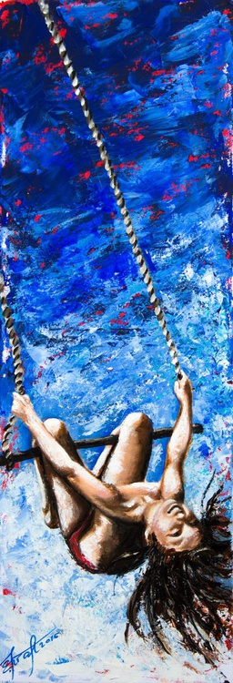 """""""Winged swing"""",original acrylic painting 35x100cm, ready to hang - Image 0"""