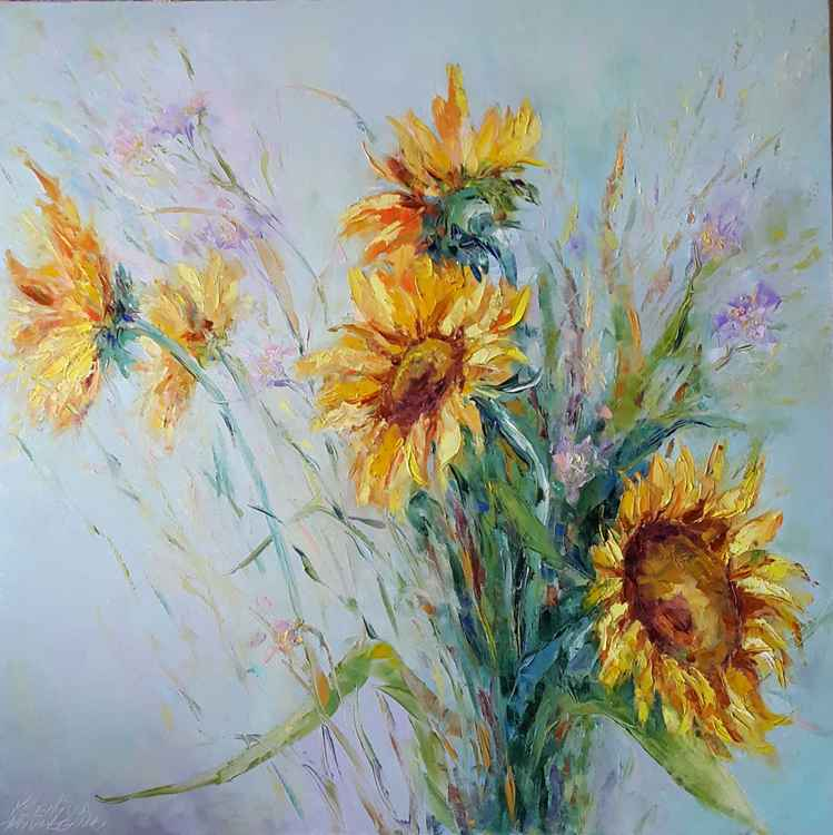 painting  *Sunflowers*Оil on canvas 80х80cm -