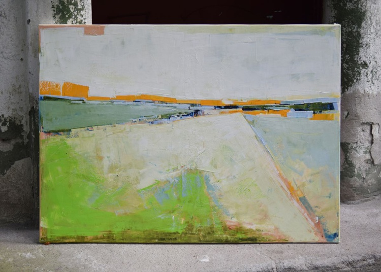 """Abstract painting """"Meadow 06"""" .100% authentic, oil painting on cotton canvas. 39.37/27.5(100/70cm). - Image 0"""
