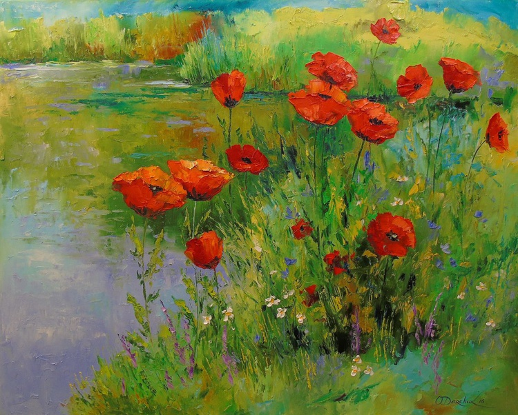 Poppies by the pond - Image 0