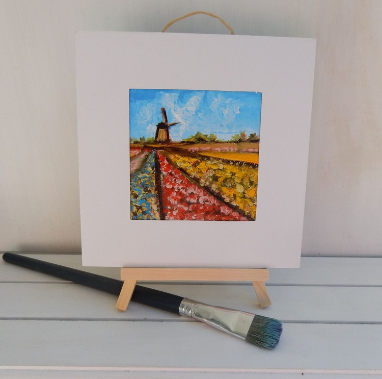 Tulip fields with wild mill in Holland (2). Landscape Miniature. Easel is included. Gift painting. Ready to hang. - Image 0