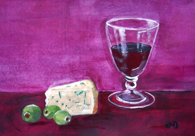 Wine, cheese and olives - Image 0