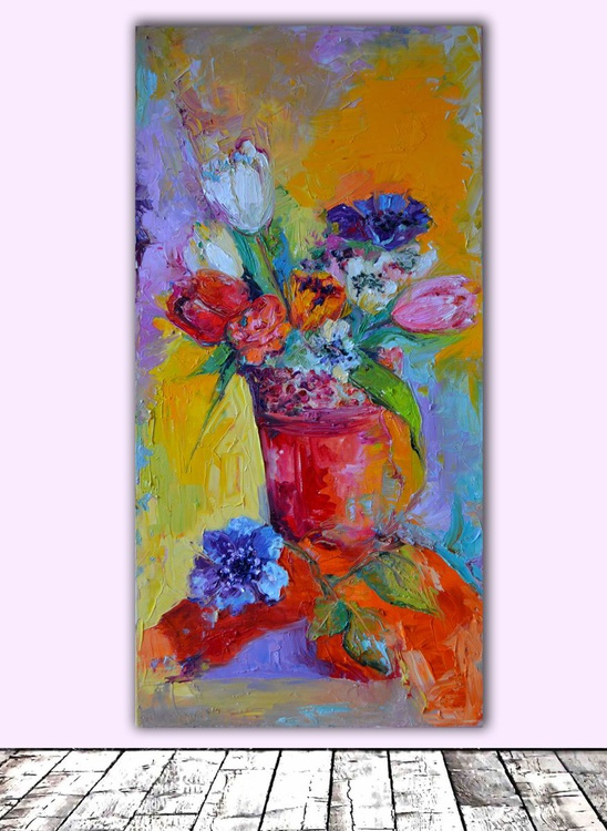 Happy Tulips - Spring Flowers - FREE SHIPPING Modern Original Oil Painting, Ready to Hang - Image 0