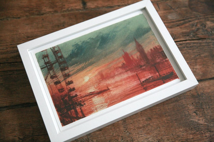 View of London from Southbank at sunset ( framed ) - Image 0
