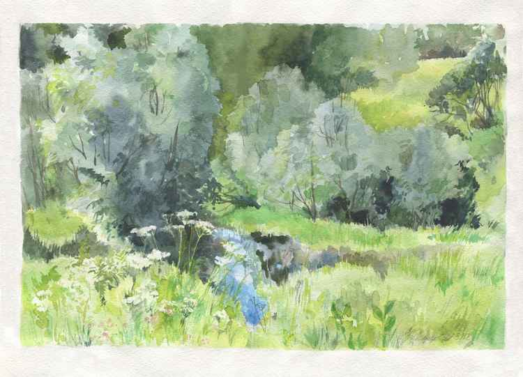 Original watercolor River in the forest -